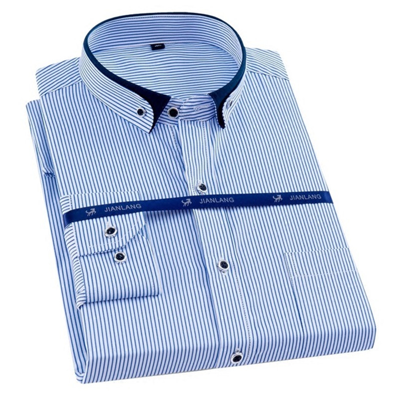 Plus Size 8XL Men Shirt Long Sleeve Solid Striped Shirts Men Dress Large 7XL 6XL White Social Shirts Men Clothing Streetwear