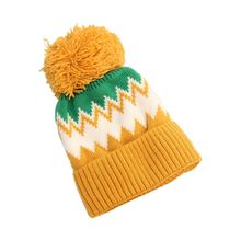 Pompom Color Women Winter Ribbed Knit Hat Block Wavy Stripes Cuffed Beanie Cap hooded color block ribbed coat
