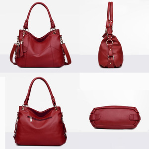 Image 4 - Fashion large tote shoulder bag women A4 leather handbags tassel big crossbody hand bags ladies red purple creamy white beige