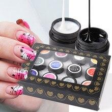 Juego de esmaltes de Gel para uñas, accesorios de manicura para manualidades, 12 Uds., GL1615-1 de línea de seda negra, barnices UV para dibujo