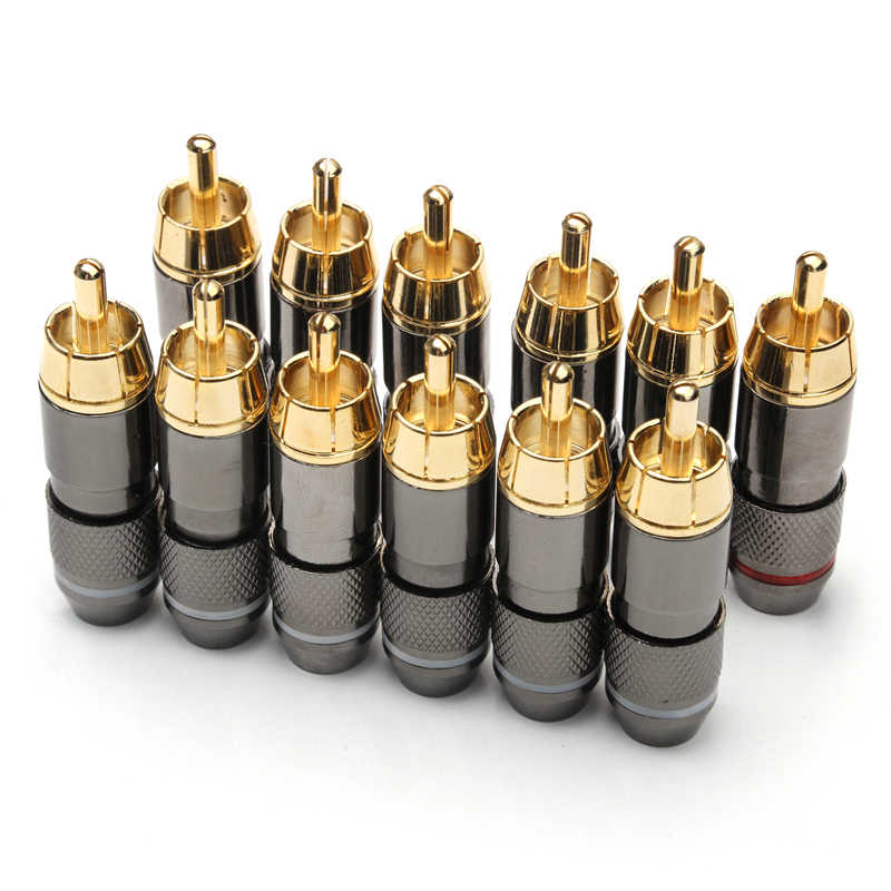 12Pcs Rca Banaan Plug Monster 24K Vergulde Koperen Banana Plug Dubbele Zelfsluitende Draad Connectors Speaker audio Adapter Kit