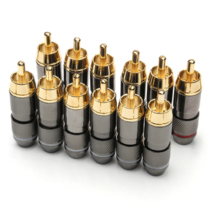 Image 1 - 12PCS RCA Banana Plug Monster 24K Gold Plated Copper Banana Plug Double Self Locking Wire Connectors Speaker Audio Adapter Kit