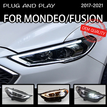 Reflektor dla Ford Fusion 2017-2021 samochodów автомобильные товары LED DRL Hella 5 soczewki ksenonowe Hid H7 Fusion mondeo akcesoria samochodowe