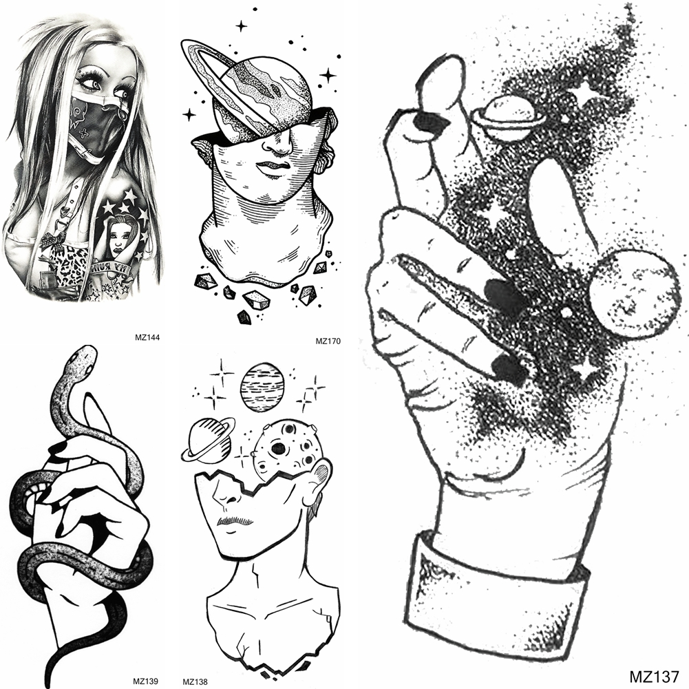 3D Galaxy Hand Temporary Tatoos Sticker Creative <font><b>Gangster</b></font> Snake <font><b>Tattoos</b></font> Fake Black Body Art Arm Tatoo For Women Men Tatoos Paper image