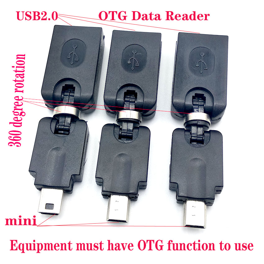 2pcs lot Conveniently Rotate 360 Degree Mini 5pin Male plug to USB2 0 Female OTG Converter Host Data Cable for Tachograph in Connectors from Lights Lighting