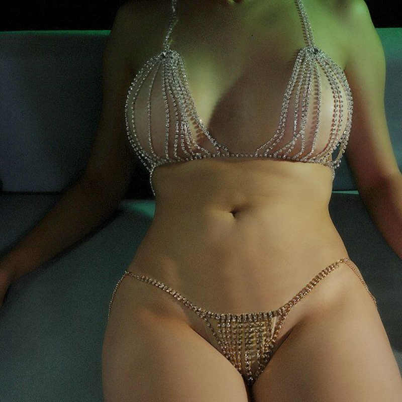 Tam Rhinestones Seksi Kadın Vücut Aksesuarları Kolye Sutyen Göğüs Zinciri Üst Kristal Bikini Tanga Külot Göbek Bel Zinciri Seti