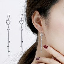 Korea 925 Sliver Tassel Earring Jewelry for Women Long Dangle Statement Tassel Peridot Gemstone Bohemian Orecchini Drop Earrings(China)
