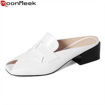 MoonMeek 2020 new style simple women mules shoes med heels comfortable casual shoes genuine leather black white slippers