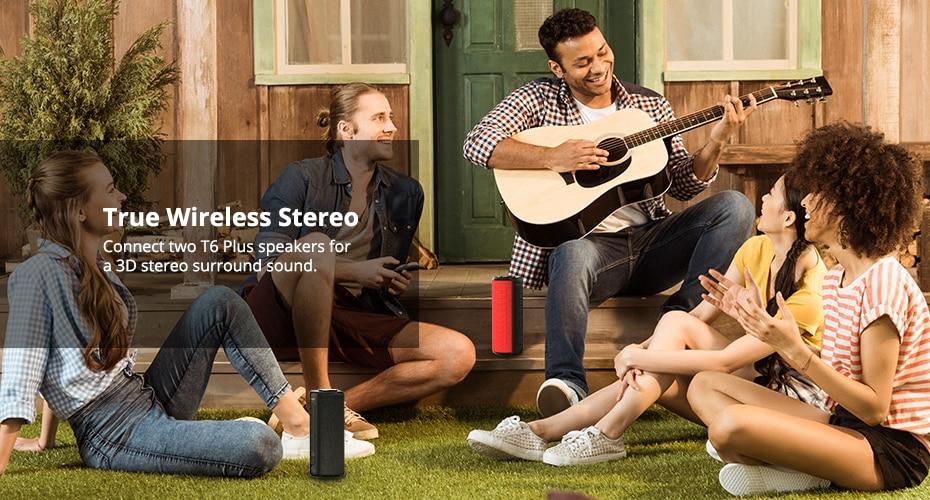 Tronsmart T6 Plus Bluetooth Speaker 40W Portable Speaker Deep Bass Soundbar with IPX6 Waterproof, Power Bank Function SoundPulse