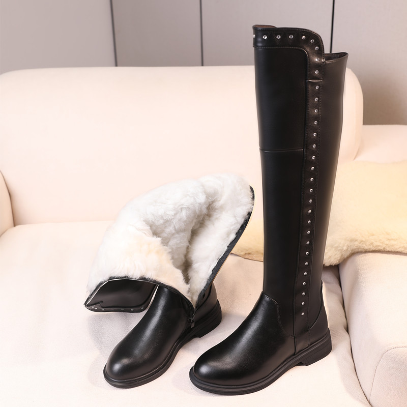 Over The Knee Boots Ladies Winter Wool Warm Genuine Leather Shiny Fashion Ladies Knee Boots Large Size Female Riding Boots