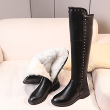 Over-The-Knee-Boots Warm Female Large-Size Winter Genuine-Leather Ladies Wool Shiny Fashion