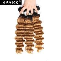 Spark Brazilian Loose Deep Wave Hair Bundles Deals 3/4 PCS 1B/4/30&27 Ombre Hair Weave Bundles Remy 100% Human Hair Extensions