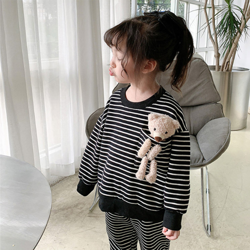 Mudkingdom Winter Autumn Girl Clothes Set  Striped Outfits with Bear Plush Toy Casual Kid Clothes 6