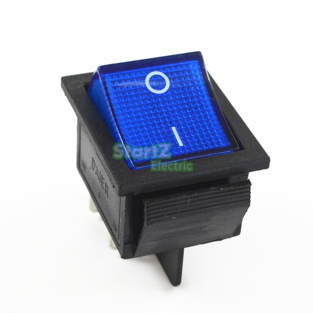 Фиксации кулисный переключатель Мощность переключатель I/O 4 контакта с светильник 16A 250VAC 20A 125VAC KCD4 - Цвет: Синий