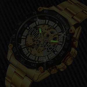 Image 5 - WINNER Official HIP HOP Golden Automatic Watch Men Diamond Iced Out Skeleton Mechanical Watches Brand Luxury Punk Wristwatches