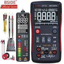 BSIDE ZT X True RMS דיגיטלי מודד 3 קו תצוגה משולשת 9999 ספירות AC/DC מתח טמפרטורת קיבוליות Tester DMM ZT301