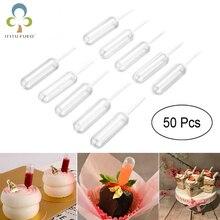 50 шт./партия, 4 мл, пластиковые пипетки-капельницы, одноразовые пипетки для клубничный кекс, мороженое, крем-Шоколад ZXH