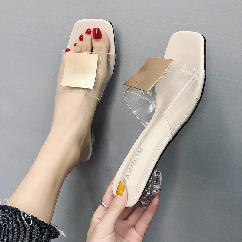 Summer Mules Ladies Slippers Women Shoes Woman Metal Buckle Transparent Square Low Heels Sexy Shoes Female 2020 Plus Size Shoes