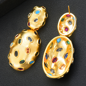 Image 4 - Godki 2019 Trendy Charms Dubai Verklaring Earring Ring Sieraden Sets Voor Vrouwen Goud Zirconia Oorbellen Bruiloft Sieraden Set