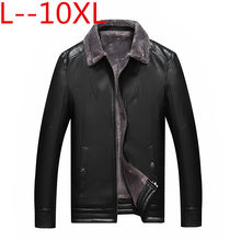 Plus Size 10XL 8XL 6XL Hot Winter Mannen Nieuwe Leren Jas Business Casual Fluwelen Grotere Maten Jas(China)