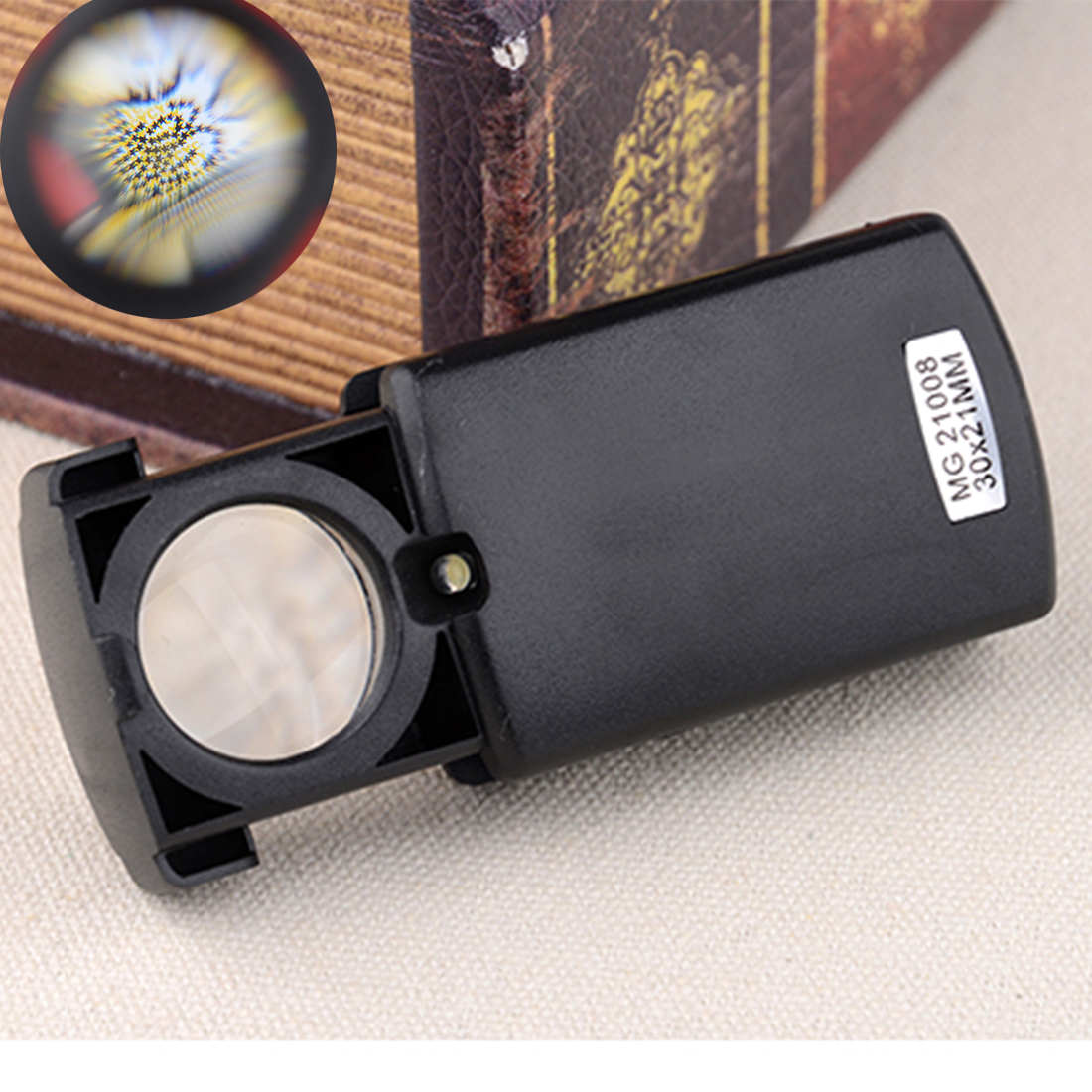 30 X 21mm Folding Eye Loupe Magnifier Glass Lens Loupe With LED Light For Jewelry Watch Repair Tools Portable