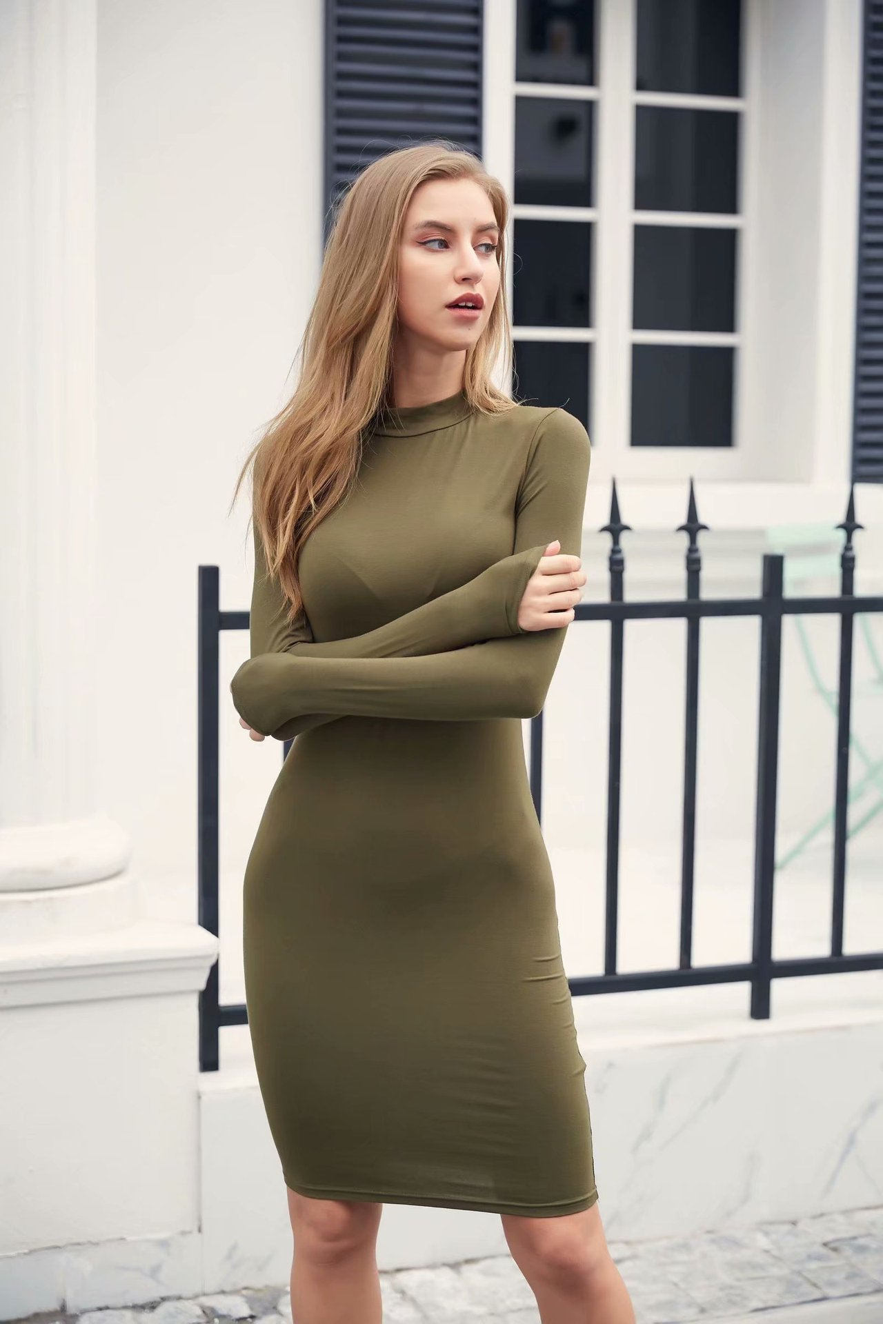 Europe And America 2019 Autumn WOMEN'S Dress New Style Slim Fit Sexy Small High Collar Long Sleeve Skirt Dress