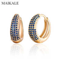 MAIKALE Luxury Gold Silver Color Hoop Earrings Paved AAA Cubic Zirconia Gem Stone Small Round Earrings for Women Jewelry Gifts