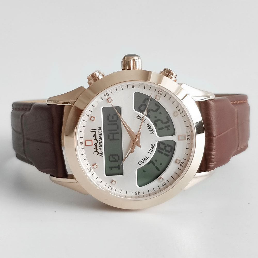 Muslim Man Watch with Azan Alarm for all Prayers Support English and Arabic Rose Gold 32mm Dial Waterproof Genuine Leather