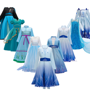 3-12Y Anna Elsa Christening Dress Girl Ice Snow Princess Dress Big Kids Dreamy Carnival Party Dresses for Girls Cosplay Costume(China)