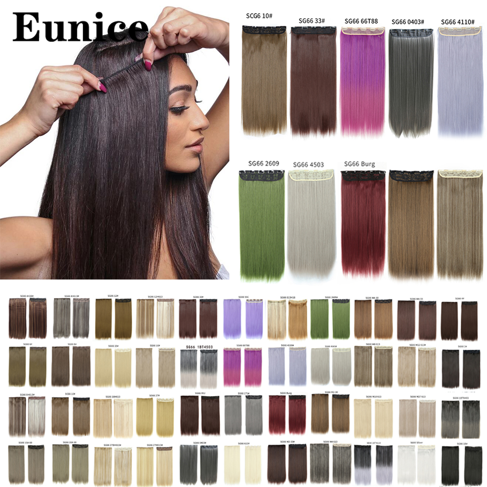 22inch Long Straight Women Clip in Hair Extensions Black Brown High Tempreture Synthetic Hair Piece Eunice Hair