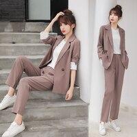 autumn spring women trousers suit long sleeve blazer casual pants suit jacket coat loose office lady 2 piece set