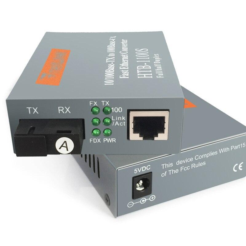 netLINK Media Converter HTB-1100S-A/B Optical Fiber Media Transceiver 25km SC 10/100M RJ45 Single Mode Single Fiber