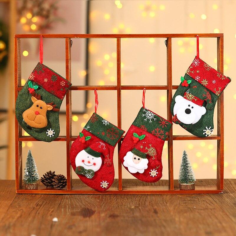 Новогоднее украшение в виде елки, кулон Санта-Клаус, ретро рождественские Мультяшные носки в форме трубы, Подарочная сумка, веселое
