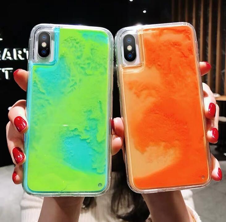Glitter luminosa caixa de areia de néon para iphone 6 6s 7 8 plus 11 pro x xs max xr areia movediça líquida brilhar a escura capa de telefone macio