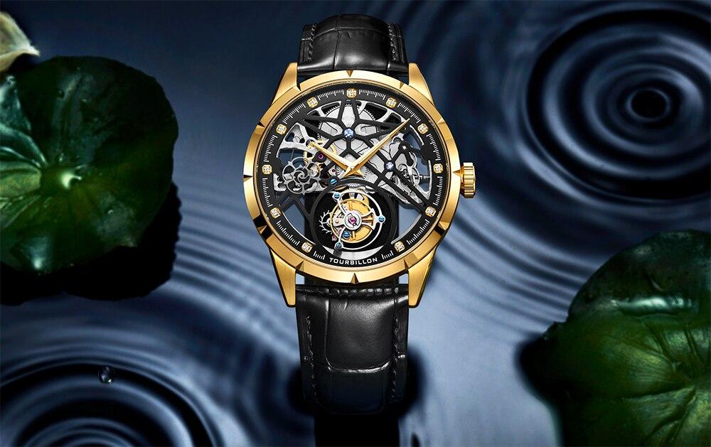 Super New Model GUANQIN Original Tourbillon business men watch top brand luxury Skeleton Sapphire  clock men Relogio Masculino 12