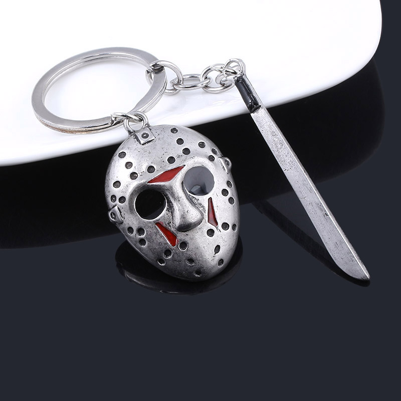 Classic Movie Friday The 13th Keychain Silver Horror Jason Hockey Mask Kinfe Metal Keyring For Children Halloween Jewelry Gift image
