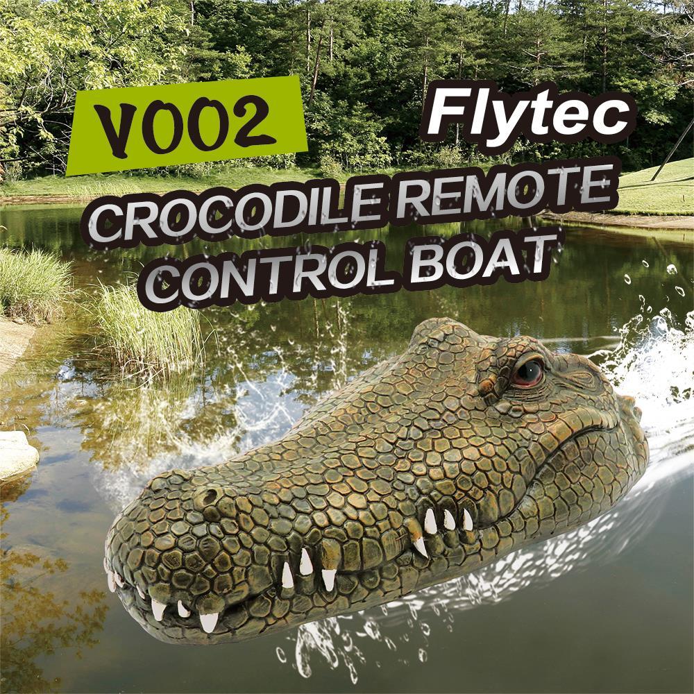 Flytec RC Boat V002 Simulation Crocodile Head Remote Control Boat 2.4G Control Electric Boat Toys Crocodile Head Spoof Toy