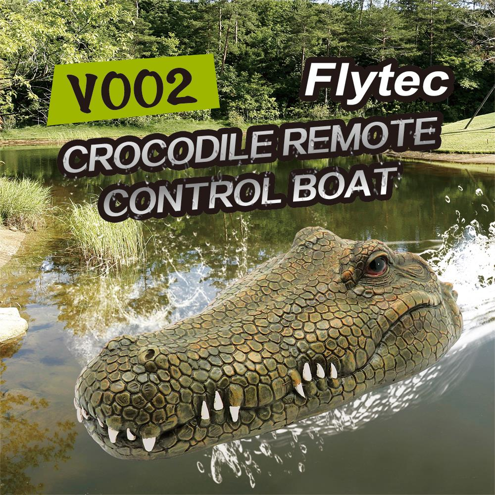 Flytec RC Boat V002 Simulation Crocodile Head Remote Control Boat 2.4G Control Electric Boat Toys Crocodile Head Spoof Toy
