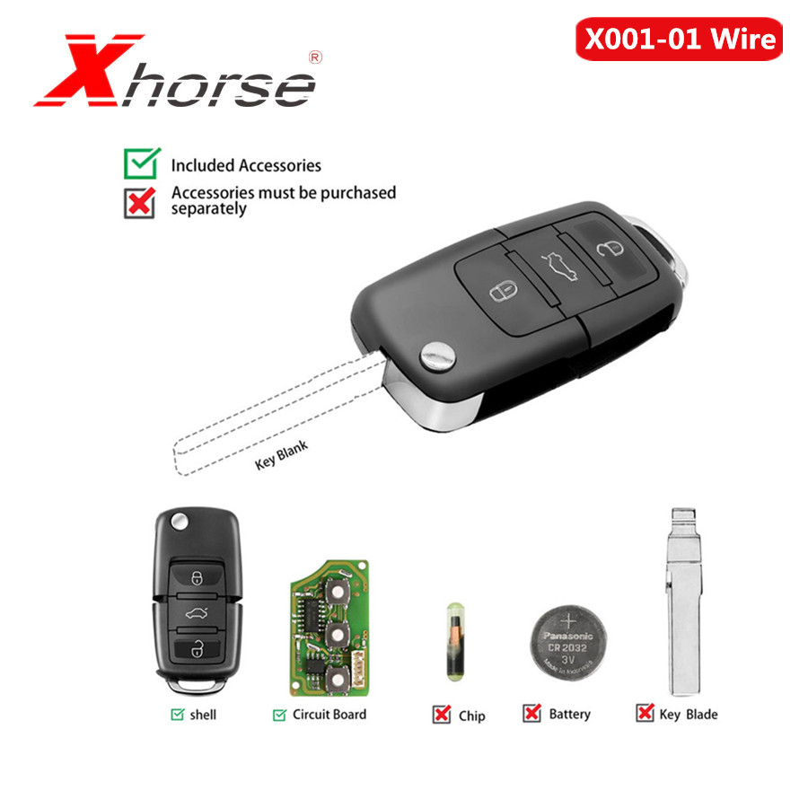 Xhorse For Volkswagen B5 Style Remote Key 3 Buttons Board X001-01 Wire Remote Key 5pcs/lot