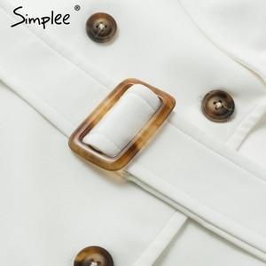 Image 5 - Simplee button Solid increspato manica del vestito delle donne Elegante cinghia del telaio ufficio delle signore trench vestito Con Scollo A V scialle vestito da partito abiti
