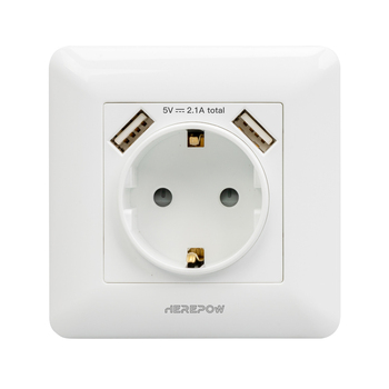 Herepow 2021 Wall Power White phone socket Grounded 16A EU Standard Electrical Outlet With 2100mA Dual USB Charger Port 1