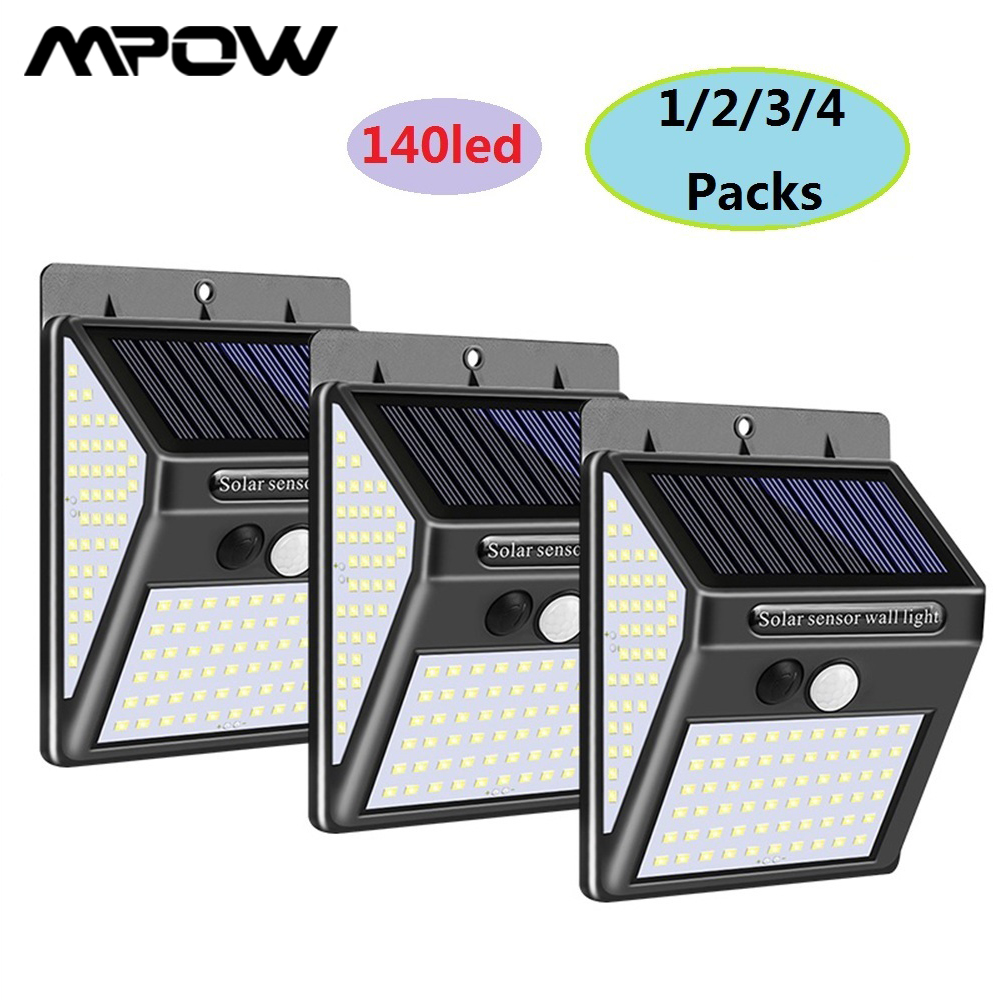 140LEDs Solar Garden Light For MPOW PIR Motion Sensor Wall Light IP65 Waterproof 270° Wide Angle New Security Street Solar Lamp