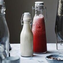 Bouteille d'eau créative en verre, grande capacité, pour jus, huileur, lait, soda, enzyme, bouteille de vin
