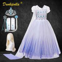 Vestido de princesa Elsa para niña, disfraz de Elsa y Anna para Halloween, traje de Elsa 2, vestidos blancos elegantes de boda para niña