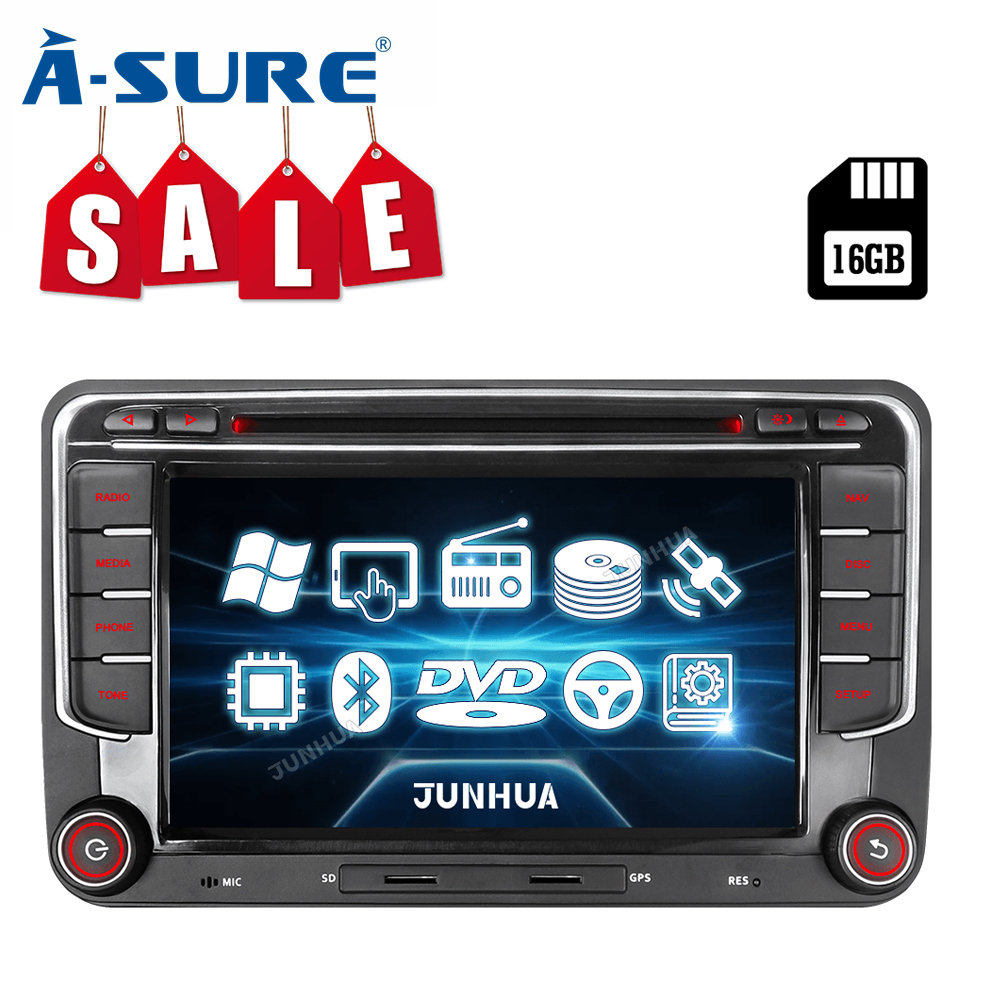 A-Sure Car Multimedia 2 Din 7 Inch Cortex 9 Autoradio GPS For VW Volkswagen <font><b>Passat</b></font> <font><b>b6</b></font> Golf Polo Tiguan SEAT leon Skoda Octavia image