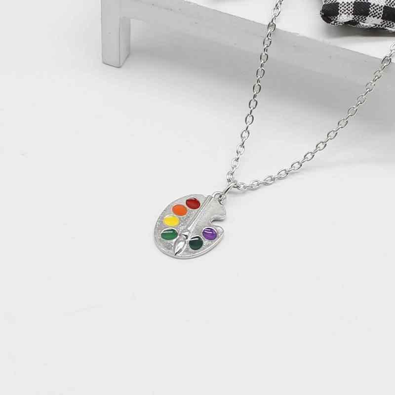 Gioielli Vintage goccia di olio di arte creativa tavolo da disegno della collana della ragazza, tavolozza di vernice pendente di fascino della collana dei monili