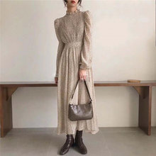 HziriP Palace Style Retro Chic 2020 Office Lady Elegant Print A-Line Floral Gentle Full-Sleeved Waist-Controlled Long Dresses
