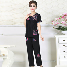 Women Summer Floral Blouse And Cropped Pants Suit 2 Pieces Trouser Set Female Cotton Top And Pant Suit Set Mother Clothes Daily adogirl work ol suit female sleeveless top and pant suit set female coat v neck sexy chic suit women office set 2 pieces outfits