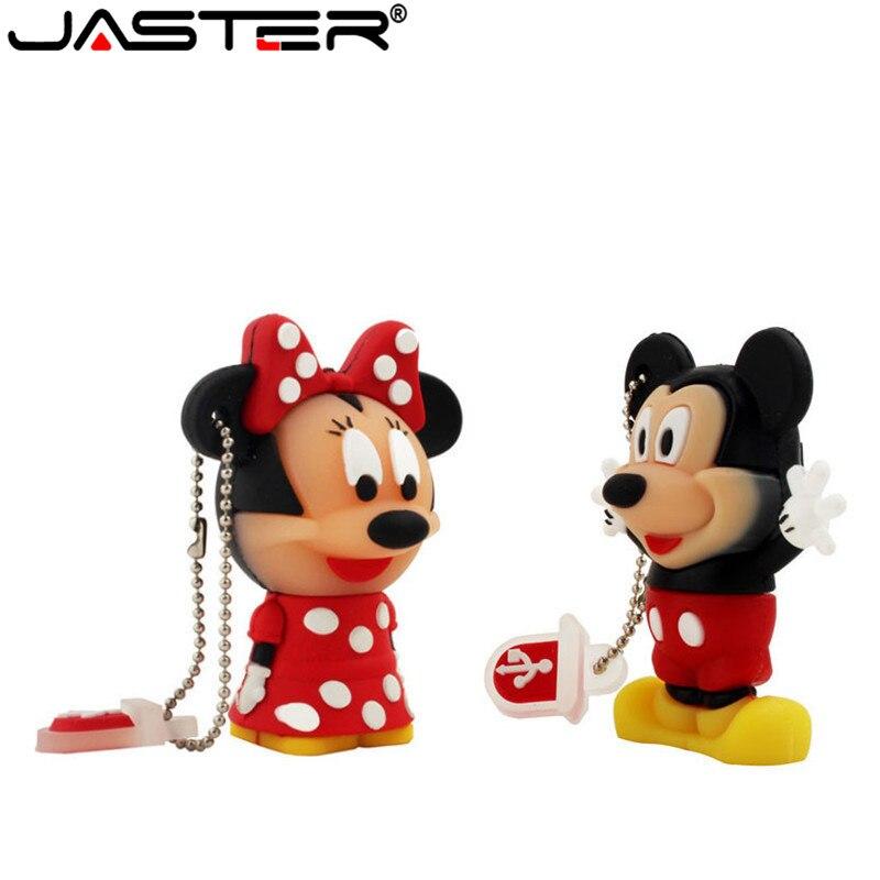JASTER Cartoon 64GB Cute Minnie And Mickey USB Flash Drive 4GB 8GB 16GB 32GB Pendrive USB 2.0 Usb Stick