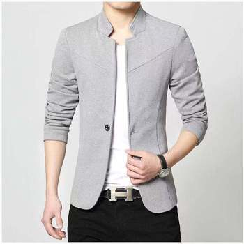2020 Autumn New Men's Fashion Slim Stitching Suit Youth Stand Collar Casual Solid Color blazers  Fashion